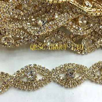 Gold Rhinestone band DIY fascinator crown Wedding Accessory evening bag dress bridal belt collar hat hair ornament