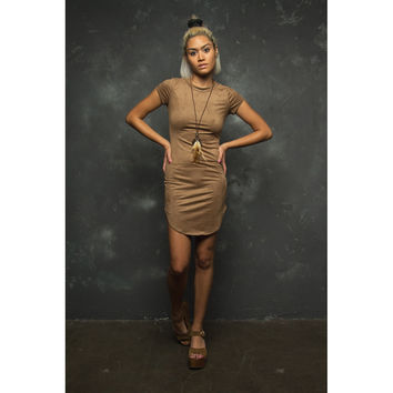 Tan Coloured Suede Dress