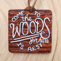 WOOD TYPOGRAPHY QUOTE - Hand Painted Ornament Christmas Holiday