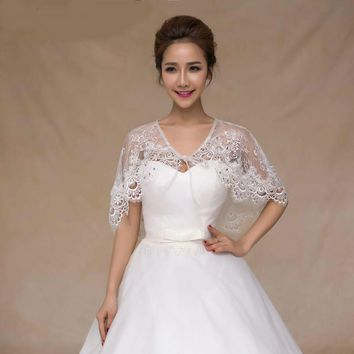 Elegant Lace Embroidery Bridal Decoration Cape Summer Thin Shawl One Size Wedding Accessories Top Coat
