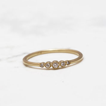 Bezel Set diamond ring, Diamond band, Yellow gold engagment ring, Delicate wedding band ,Uniqe diamond ring, Bezel Set