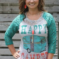 Happy Camper Grey Baseball Burnout Tee with Jade Lace Sleeves