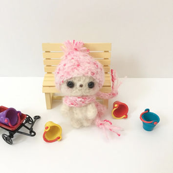 Miniature Bear Crochet Bear Toy Amigurumi Bear Blythe Doll Toy Teddy Bear Plush Stuffed Animal Kawaii Fuzzy Bear Kids Toy Girls Gift Ideas