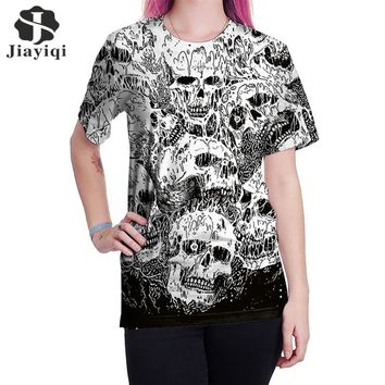 Women's Top Punk Style Skull Printed Summer Fashionable Women's Clothing Short Sleeve Loose T-shirt