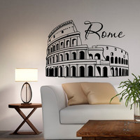 Rome Coliseum Wall Decals Vinyl Sticker Italy Silhouette Interior Art Home Decor for Living Room C034