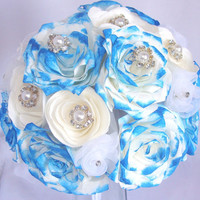 Royal Blue Bouquet, Bridal bouquet, wedding bouquet, Paper Bouquet, Wedding party bouquets,Fake flower bouquet, silk bouquet, fabric bouquet