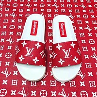 Louis Vuitton X Supreme Fashion Casual Print Women Men Flip Flop sandal G