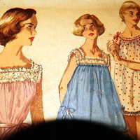1960's Simplicity Pattern 1553 Baby Doll Nighties, Shortie Night Gown & Panties, Bloomers, Size 14 Bust 32, Misses