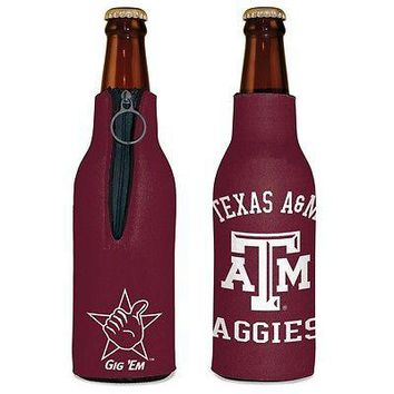 TEXAS A&M AGGIES GIG 'EM 12 oz KOOZIE INSULATED BOTTLE HOLDER BRAND NEW WINCRAFT