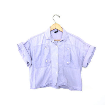 Vintage CROPPED 80s shirt. SIDEWAYS POCKETS. Light Purple Lilac Faded Button up Minmal short sleeves Preppy Camp Boho Womens Small Medium