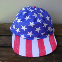 American Flag Baseball Hat Deadstock 1990s Stars and Stripes Red White Blue Snapback Cap Hipster Boho Patriotic 90s Grunge Mens Womens Hats