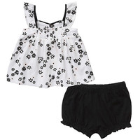 amy coe Girls' 2 Piece White/Black Floral Sleeveless Tunic and Diaper Cover Set