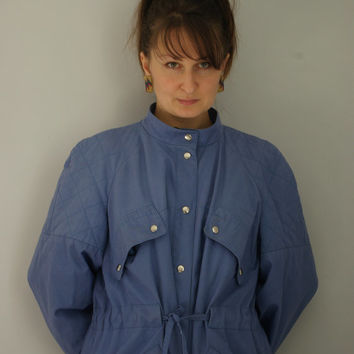1980s classic trench coat vintage. Vintage blue oversized trench coat
