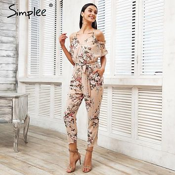 Simplee Sexy cold shoulder long jumpsuit romper Boho floral print ruffle backless playsuit Elegant summer beach overalls