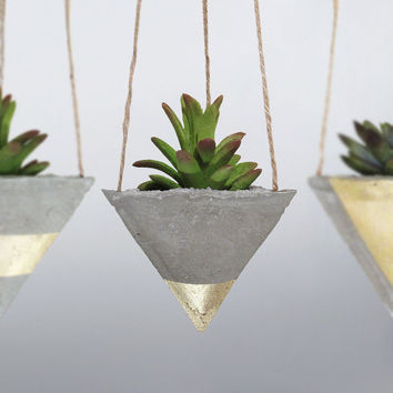 Air Planter, Concrete Planter, Succulent Planter, Air Plant Holder, Hanging Planter, Modern Planter, Unique Planter, Gold Planter - Set of 3