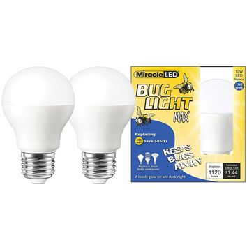 Yellow Bug Light MAX - Replaces 100W - A19 Outdoor Bulb for Porch and Patio - 2 Pack