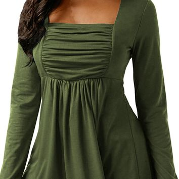 Chicloth Army Green Square Neckline Ruched Long Sleeve Blouse