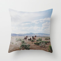 Running Horses Throw Pillow by Kevin Russ