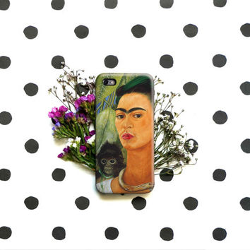 Self-Portrait with Monkey Frida Kahlo iPhone Case 6, 6S, 6 Plus, 4S, 5S. HTC, Galaxy, LG. Huawei. Art Painting. Gift Idea. Gift for him/her