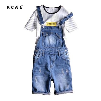 Men's Shorts New Arrival 2017 New Casual Bib Overalls Jeans Short Summer Fashion Male Slim Fit Strap Short Jean Man Jumpsuit