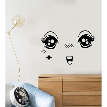 Vinyl Wall Decal Cartoon Anime Face Child Decor For Kids Room Stickers (3187ig)