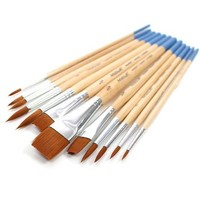 Artist's Loft Synthetic Flat and Round Brushes 12 Pack