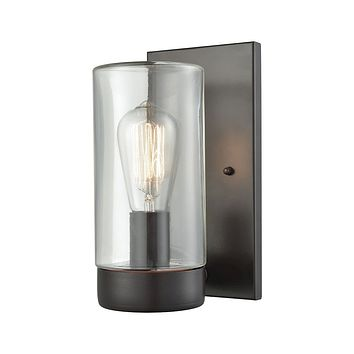 45025/1 Ambler 1 Light Outdoor Wall Sconce In Oil Rubbed Bronze With Clear Glass
