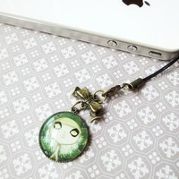Big Eye Girl Green Gothic Dark Fairy Tale Small Glass Charm Dust Plug