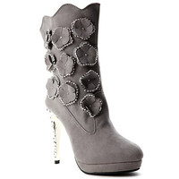 Gray High Heel Boots With Flower and Rhinestones Design