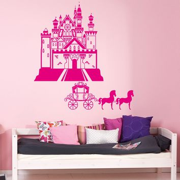 ik940 Wall Decal Sticker Castle Princess Cinderella carriage horse kids room