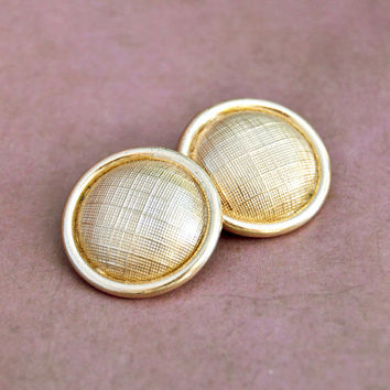 Vintage Bergere, Gold Tone, Hollow Dome Button, Clip On, Non Pierce Earrings, Womens Mid Century Estate Jewelry, Wife Girlfriend Mom Gift