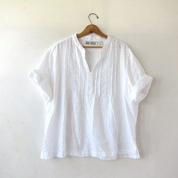 Vintage white shirt. loose fit cotton tshirt. slouchy oversized top. minimalist modern shirt.
