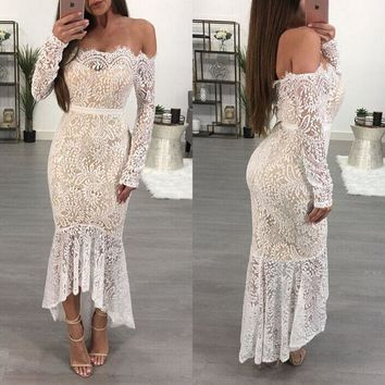 US Seller 2018 Women Bodycon Lace Long Sleeve Party Evening Cocktail Long Dress