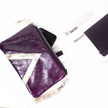 Shiny Leather Wristlet // Zipper Pouch // Iphone Purse Bag // Purple Ruby Red Gold // Art Deco Geometrics // Party Clutch