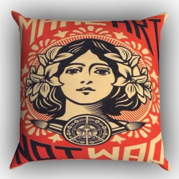 OBEY Make Art Not War Zippered Pillows  Covers 16x16, 18x18, 20x20 Inches