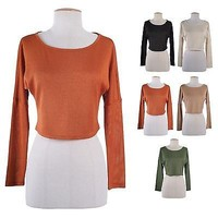 Sexy Long Sleeve Round Neck Cropped Knit Light Sweater Top Tee Shirts