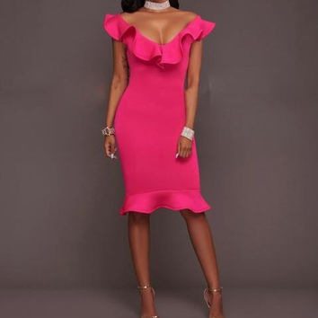 Rosy Flounced Midi Dress