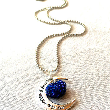 I Love You to the Moon and Back Necklace, small blue heart necklace charm blue crystal necklace rhinestone mom gift granddaughter daughter