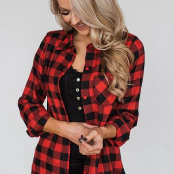 Plaid With The Fur Top- Red & Black