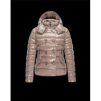 Moncler PLANE Double-Breasted Turtleneck Dove grey Jackets Lacquered Nylon Womens 41382558PE