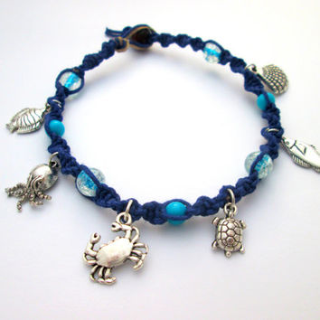 Beach Hemp Anklet Sea Jewelry Sea Turtle Octopus Under the Sea Charm Anklet Blue