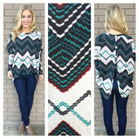 Teal Zig Zag Button Back Sweater Top