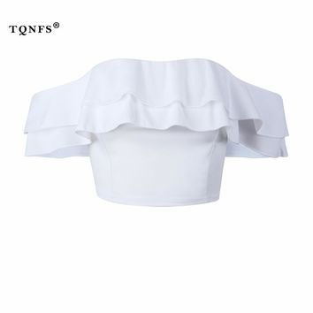 TQNFS Sexy Off Shoulder Womens Tops And Blouses Ruffles Backless White Women Blouses 2018 Summer Blouse Women Crop Top