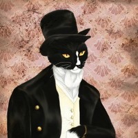 I Love Mr Darcy Tuxedo Cat Art, Cat Dressed in Regency Clothes 5x7 Fine Art Print