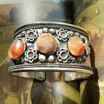 Vintage Native American Silver Cuff Bracelet with Rose Red Carnelian Gems 30gram Repousse Handtooled Circa 1940s Southwestern Unmarked