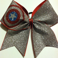 3inch BIG Cheerbow Captain America Superhero silver glitter bow!