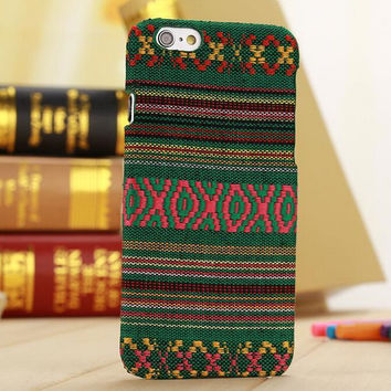 Handmade Green Cloth Ethnic Style iPhone 6 6s Plus Case Cover Gift-171