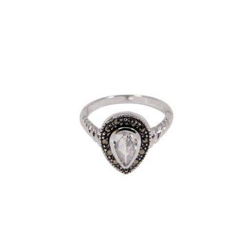 Sterling Silver Teardrop Solitaire Ring With Clear Pear Cut Cubic Zirconia And Genuine Marcasite Stones in Rhodium Plate Finish