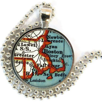 Boston, Massachusetts, Cape Cod Vintage Map pendant charm, picture pendant, photo pendant