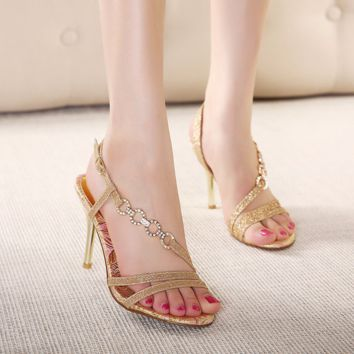 Beautiful Diamond Gold Open Toe Strap Sandal Style Heels